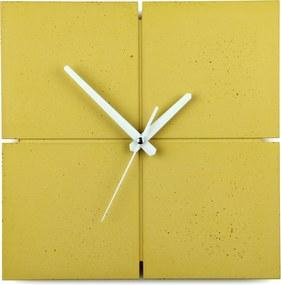 Gakobe Designové nástenné betónové hodiny SQUARE B Tu si vyber farbu hodín -DVOJKLIK NA FARBU-: Žltá, Tu si vyber farbu ručičiek              -DVOJKLIK NA FARBU-: Biele