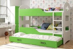 Poschodová posteľ s prístelkou DOMINIK 3 - 160x80cm Biely - Zelený