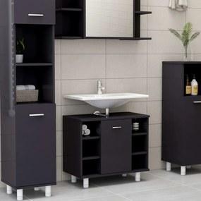 vidaXL Skrinka do kúpeľne, lesklá sivá 60x32x53,5 cm, drevotrieska