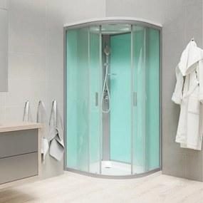 Mereo CK35162MS sprchový box štvrťkruhový, 100 cm, profily satin, sklo Point, liata vanička