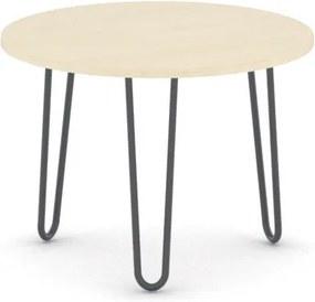 Okrúhly konferenčný stôl SPIDER, priemer 600 mm, čierna podnož, doska breza