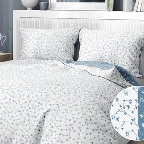 Goldea krepové posteľné obliečky - vzor 782 kvietky a motýle s modrosivou 240 x 200 a 2ks 70 x 90 cm