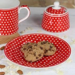 Isabelle Rose Porcelánový tanier s bodkami 19 cm - červený