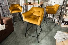 Barová stolička Loft 100cm horčicovo žltá zamatová