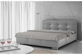 Luxusné čalúnené jednolôžko Latium s úložným priestorom šedá eko koža 120 x 200