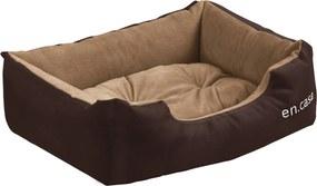 [en.casa]® Pelech - pre mačky a psov - s obojstranným vankúšikom - oxford látka / PP-bavlna - 50 x 38 x 17 cm [S] - tmavo hnedý / svetlo hnedý