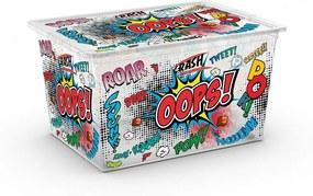 KIS Úložný box C Box Style Comics XL, s kolečky - 50l