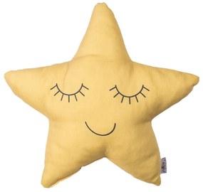 Žltý detský vankúšik s prímesou bavlny Mike & Co. NEW YORK Pillow Toy Star, 35 x 35 cm