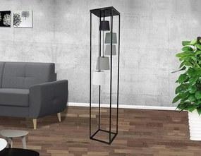 Dizajnová stojanová lampa Shadow II čierno-sivá