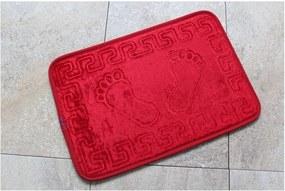 Červená kúpeľňová predložka s motívom chodidiel Feet Feet, 60 × 40 cm