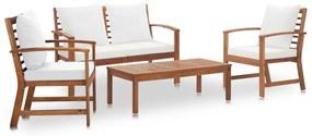 vidaXL 4-dielna záhradná sedacia súprava, podložky, akáciový masív