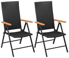 Čierne záhradné stoličky, 2 ks, polyratan a hliník