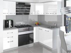 Kuchyňa biela lesklá rohová Mona