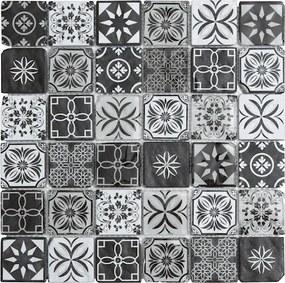 Sklenená mozaika Premium Mosaic černobílá 30x30 cm mat / lesk PATCHWORK48MIX2