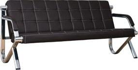 3-miestna kožená pohovka Stilio Plus do kancelárie,  čierna