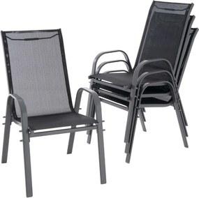 Sada 4 ks stohovateľných stoličiek, čierna
