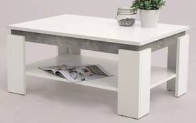 Konferenčný stolík Tim 2, biela / sivý betón