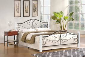 Halmar Kovová postel Violetta 160x200 dvoulůžko bílá/černá
