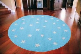 Detský kusový koberec Hviezdicky modrý kruh, Velikosti 80x80cm