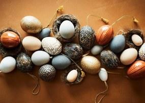 MADAM STOLTZ Dekoratívne vajíčko Mache Egg Sand/Gold