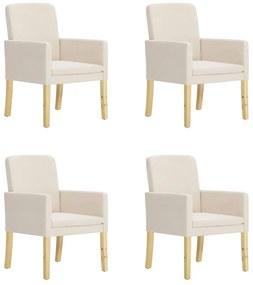 vidaXL Jedálenské stoličky 4 ks krémové látkové