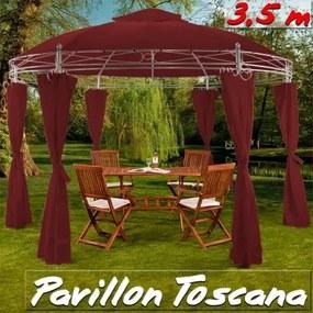 Záhradný altánok Pavilón TOSCANA priemer 350cm červena