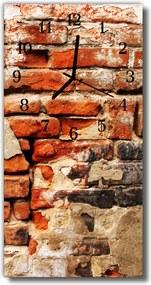 Sklenené hodiny vertikálne  Oranžová tehlová stena