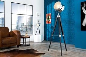 Bighome - Stojáca lampa HOLLY, 110-150 cm - čierna, strieborná