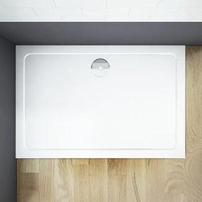 THOR Sprchová vanička z liateho mramoru, obdĺžnik, 120 × 80 × 3 cm