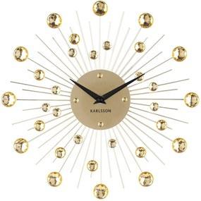 KARLSSON Nástenné hodiny Sunburst stredné zlaté krištály