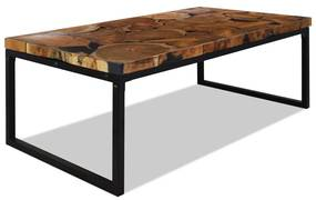 vidaXL Konferenčný stolík, teakové drevo a živica 110x60x40 cm