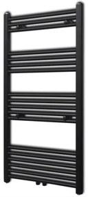 vidaXL Čierny rebríkový radiátor na centrálne vykurovanie, rovný 600 x 1160 mm