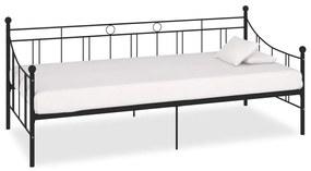 vidaXL Rám dennej postele čierny kovový 90x200 cm