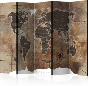 Paraván - Room divider – Map on the wood 225x172 7-10 dní
