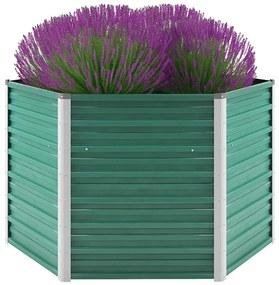 vidaXL Vyvýšený záhradný záhon, pozinkovaná oceľ 129x129x77 cm, zelený