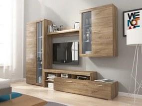 Alvaro - Obývacia stena, 2x vitrína, RTV komoda, LED (stirling)