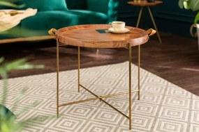 Konferenčný stolík Monsoon - 55 cm zlatý, agátové drevo