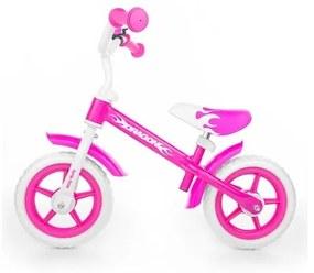 MILLY MALLY Milly Mally Dragon Detské odrážadlo kolo Milly Mally Dragon s brzdou pink Ružová |