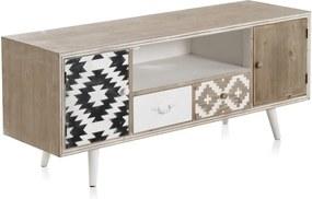 TV stolík s čiernobielymi detailmi a dvoma zásuvkami Geese Rustico Geometric