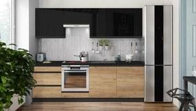 Kuchynská linka Brick 240 cm (čierna vysoký lesk/dub)