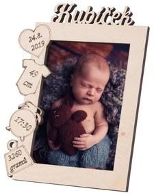 ČistéDrevo Drevený fotorámik s menom k narodeniu dieťaťa