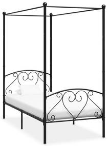 vidaXL Posteľný rám s baldachýnom, čierny, kov 90x200 cm