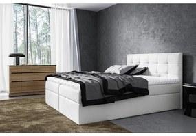 Moderné čalúnené jednolôžko Riki s úložným priestorom svetlo béžová 140 x 200 + topper zdarma