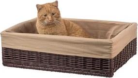 Drevobox Prútený pelech pre mačku s poduškou