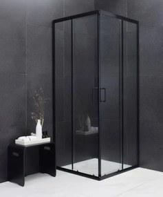 MEXEN RIO - Štvorcový sprchovací kút 90x90 cm, čierna, 860-090-090-70-00