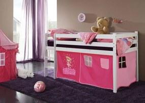 MAXMAX Detská vyvýšená posteľ DOMČEK ružový - BIELA