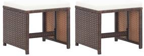 vidaXL Záhradné sedadlá 2 ks s podložkami polyratan hnedé