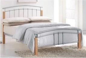 KONDELA Mirela 160 kovová manželská posteľ s roštom prírodná / strieborná