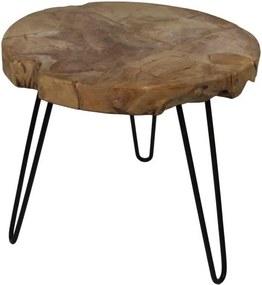 Odkladací stolík z teakového dreva HSM collection Live Edge, 55 × 50 cm