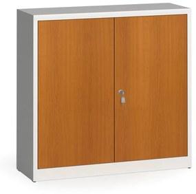 Alfa 3 Zváraná skriňa s lamino dverami, 1150 x 1200 x 400 mm, RAL 7035/čerešňa